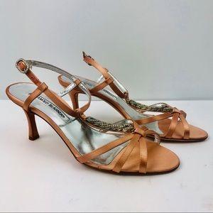 Authentic Manolo Blahnik Strappy Crystal Heel Shoe